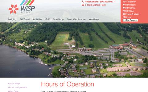Screenshot of Hours Page wispresort.com - About Wisp Resort | wispresort.com - captured Nov. 7, 2018