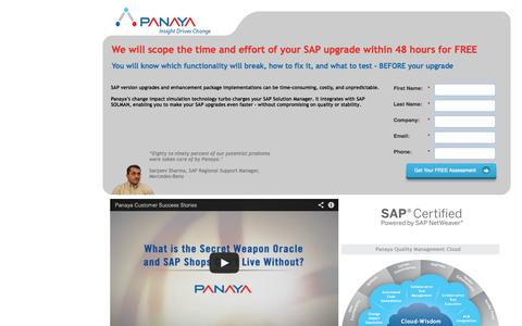 Screenshot of Landing Page panaya.com - We will scope the time and effort of your SAP upgrade within 48 hours for FREE - captured Oct. 27, 2014