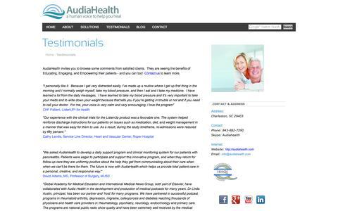Screenshot of Testimonials Page audiahealth.com - AudiaHealth - a human voice to help you healTestimonials - captured Feb. 6, 2016