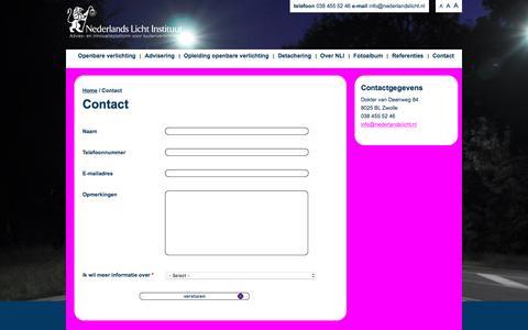 Screenshot of Contact Page nederlandslicht.nl - Contact | Nederlands Licht Instituut - Openbare Verlichting - captured Feb. 4, 2016