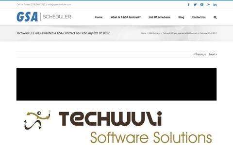 Screenshot of gsascheduler.com - Techwuli LLC was awarded a GSA Contract on February 8th of 2017 - captured July 21, 2017