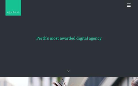 Screenshot of Home Page equ.com.au - Equilibrium - WA Digital Agency of the Year - captured Sept. 28, 2018
