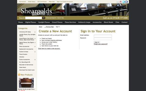 Screenshot of Login Page mybigcommerce.com - Sheargold Music - Sign in - captured Sept. 18, 2014