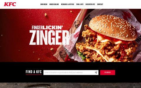 Screenshot of Home Page kfc.co.uk - KFC UK - Find a Restaurant and Order KFC Online - captured Feb. 15, 2020