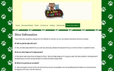 Screenshot of FAQ Page nomorelonelypets.co.uk - No More Lonely Pets offer cat sitting, dog walking and general pet sitting in Hampshire and Surrey, within 10 miles of Upper Froyle - captured Aug. 14, 2016