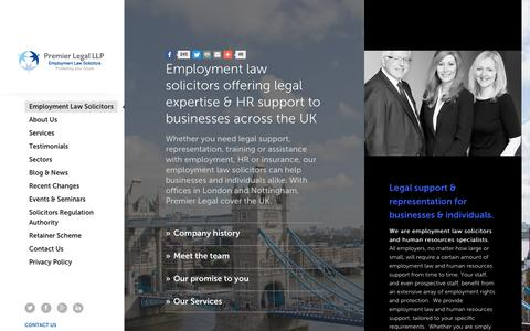 Screenshot of Home Page premier-legal.co.uk - Employment Law Solicitors Nottingham   Premier Legal LLP - captured Sept. 29, 2018