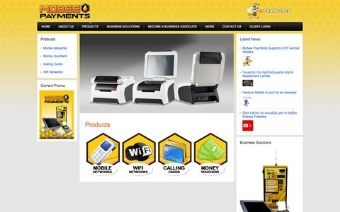 Screenshot of Products Page mobeepayments.com - Products   Mobee Payments - captured Oct. 26, 2014