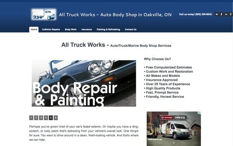 Screenshot of Home Page alltruckworks.com - All Truck Works - Auto Body Shop in Oakville, ON - Home - captured Sept. 30, 2014