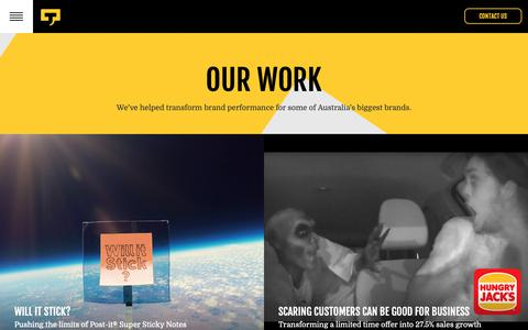 Screenshot of Case Studies Page channelt.com.au - Channel T - Our Work - captured Sept. 27, 2018
