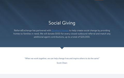 Social Giving - ReferralExchange