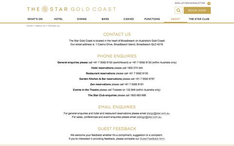 Screenshot of Contact Page star.com.au - Contact Us | Jupiters Gold Coast - captured Oct. 16, 2017