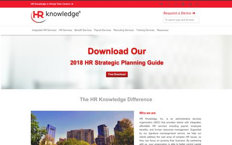 Screenshot of Home Page hrknowledge.com - HR Services, Administrative Services Organization | HR Knowledge - captured April 14, 2018