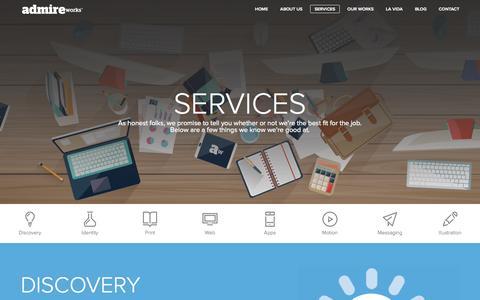 Screenshot of Services Page admireworks.com - Our Services | Admireworks - Corporate Branding & Design Agency | Dubai, Banglore - captured Oct. 29, 2014