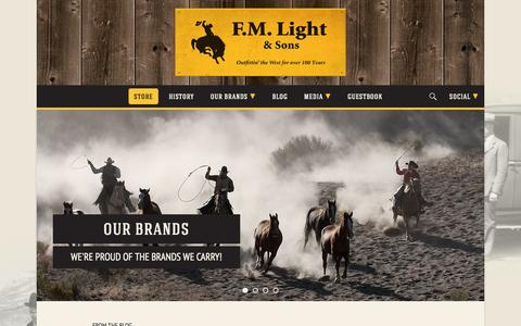 Screenshot of Home Page fmlight.com - F.M. Light & Sons | Men's and Women's Clothing and Cowboy Boots – Historic, Western Wear and Apparel Store in Steamboat Springs, CO - captured Oct. 4, 2014