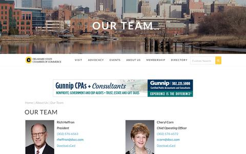 Screenshot of Team Page dscc.com - Our Team | DSCC - Delaware State Chamber of Commerce | Wilmington DE 19899 - captured Oct. 12, 2017