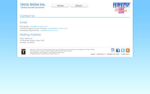 Screenshot of Contact Page tetrisonline.com - Contact Us - Tetris Online, Inc. - captured July 20, 2014