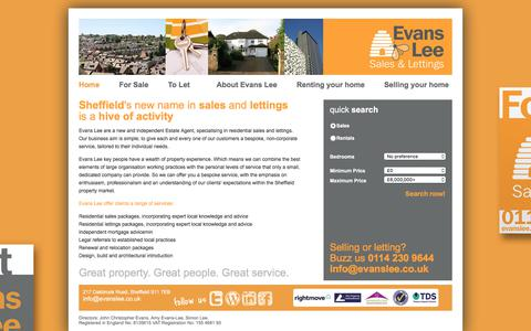 Screenshot of Home Page evanslee.co.uk - Evans Lee - Sheffield sales and lettings - captured July 21, 2018