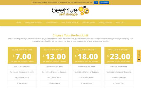 Screenshot of Pricing Page beehiveselfstorage.co.uk - Our Units & Prices - Beehive Self Storage - captured Oct. 5, 2018