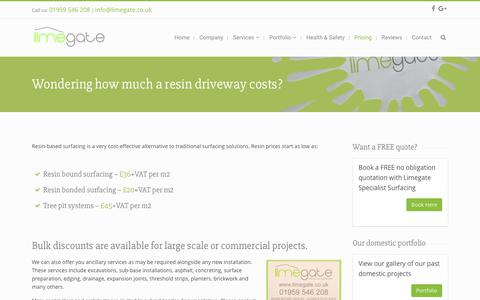 Screenshot of Pricing Page limegate.co.uk - Resin Driveway Cost | Limegate Specialist Surfacing - captured Aug. 14, 2017