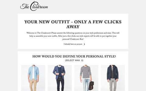 Screenshot of Signup Page thecloakroom.nl - Questionnaire | Find your new style - captured Jan. 2, 2017