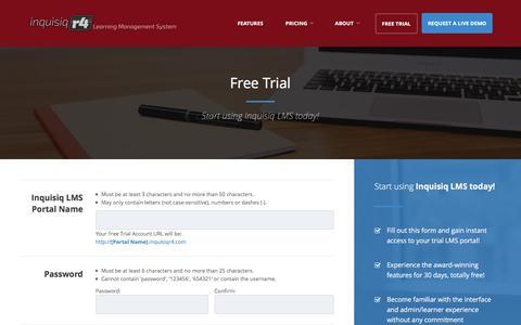 Screenshot of Trial Page inquisiq.com - Free Trial | Inquisiq LMS - captured Sept. 23, 2016