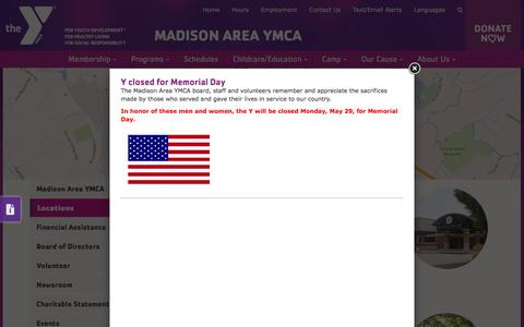 Screenshot of Locations Page madisonareaymca.org - Madison Area YMCA | Locations - captured May 25, 2017