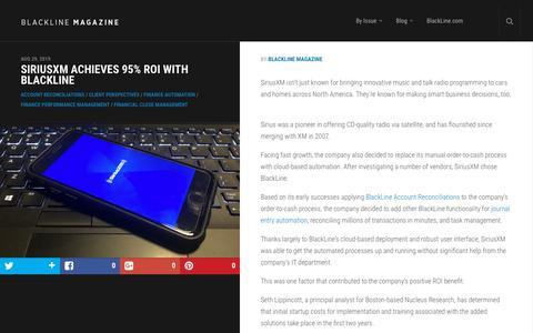 Screenshot of Case Studies Page blackline.com - SiriusXM Achieves 95% ROI with BlackLine | BlackLine Magazine - captured Nov. 29, 2019
