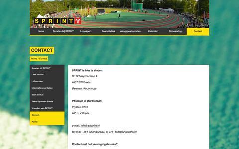 Screenshot of Contact Page avsprint.nl - Contact - captured Sept. 30, 2014