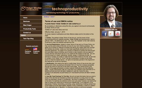Screenshot of Terms Page technoproductivity.com - Terms of use:Holger Wöltje - Die Zeit im Griff mit Outlook - captured Oct. 26, 2014