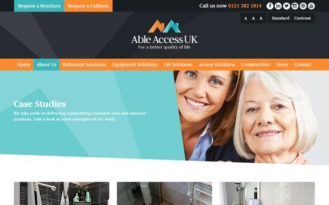 Screenshot of Case Studies Page ableaccessuk.com - Case Studies | Able Access UK - captured July 28, 2018