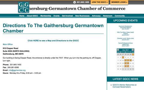Screenshot of Maps & Directions Page ggchamber.org - Directions to Our Chamber of Commerce in Montgomery County, MD - GGChamber - captured July 15, 2017