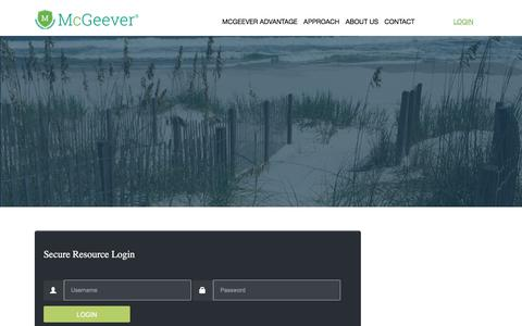 Screenshot of Login Page mcgeeverllc.com - Login • McGeever LLC - captured Sept. 20, 2018