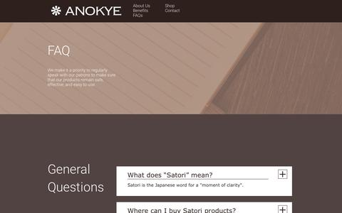 Screenshot of FAQ Page anokye.com - FAQs | The Anokye Food Company - captured Feb. 21, 2016