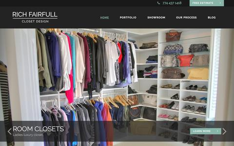 Screenshot of Home Page richfairfullclosetdesign.com - Beautiful Custom Closets and Storage Spaces - Rich Fairfull Closet Design - captured June 19, 2015