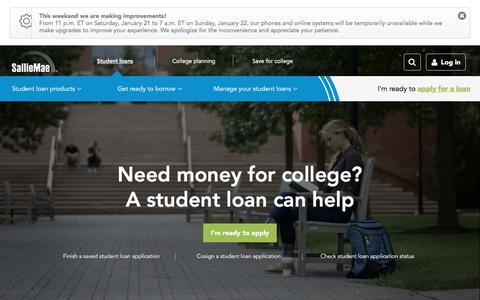 Screenshot of Home Page salliemae.com - Sallie Mae | Student Loans, Education Loans For College - captured Jan. 21, 2017