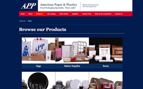Screenshot of Products Page appinc.com - Browse our Products | American Paper & Plastics - captured Oct. 4, 2014
