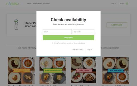 Screenshot of Menu Page nomiku.com - Nomiku Sous Chef Meals - captured June 27, 2018
