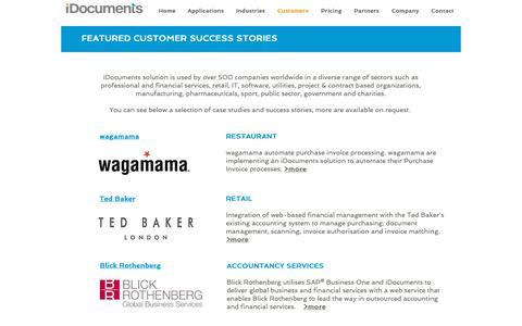 Screenshot of Case Studies Page idocuments.co.uk - iDocuments Customers - captured Nov. 1, 2018