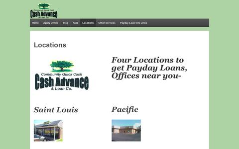 Screenshot of Contact Page Locations Page cqcash.com - Get Payday Loans | St. Louis | Fenton | DeSoto | Pacific - captured Nov. 19, 2016