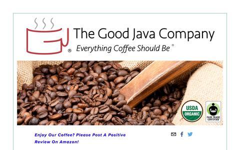 Screenshot of Home Page thegoodjava.com - The Good Java Company - captured Nov. 30, 2016