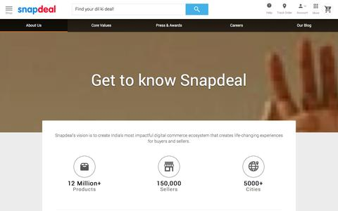 Screenshot of About Page snapdeal.com - Snapdeal Promotions - captured Jan. 13, 2016