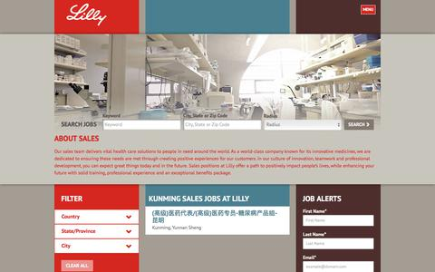 Screenshot of Jobs Page lilly.com - Kunming Sales Jobs at Lilly - captured Aug. 7, 2017