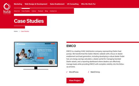 Screenshot of Case Studies Page kulapartners.com - Manufacturing Marketing Case Studies   Kula Partners - captured Sept. 20, 2018