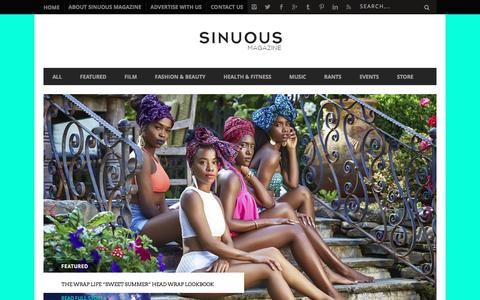 Screenshot of Home Page sinuousmag.com - Sinuous Magazine | Multicultural Art, Entertainment, Fashion & Social Issues - captured Sept. 27, 2016