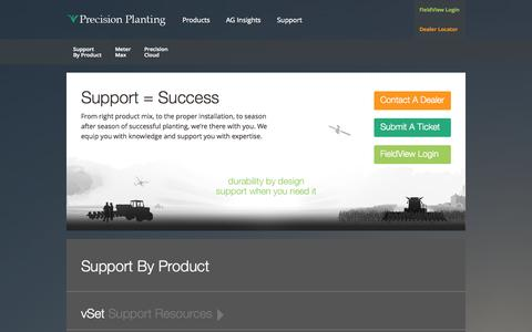 Screenshot of Support Page precisionplanting.com - Support | Precision Planting | Precision Seed Spacing & Depth Control - captured Oct. 28, 2014