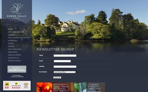 Screenshot of Signup Page sheenfallslodge.ie - Signup | - captured Oct. 9, 2014