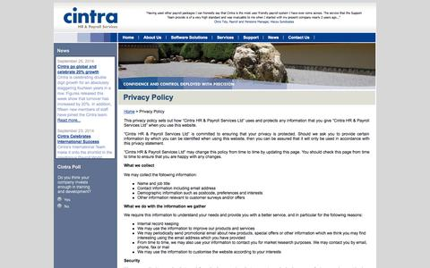 Screenshot of Privacy Page cintra.co.uk - Privacy Policy «  Cintra HR & Payroll Services - captured Oct. 2, 2014