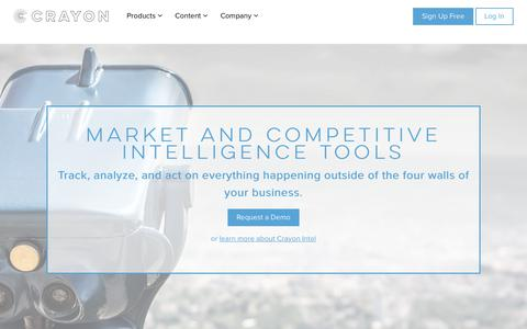 Screenshot of Home Page crayon.co - Crayon | Market & Competitive Intelligence Tools - captured May 9, 2018