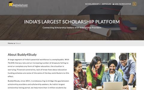 Screenshot of About Page buddy4study.com - India's Largest Scholarship Platform for students - captured Sept. 23, 2018