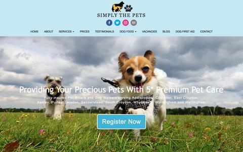 Screenshot of Home Page simplythepets.com - Dog Walkers & Cat Sitters in Purley, Kenley, Warlingham & Sanderstead - captured July 27, 2018